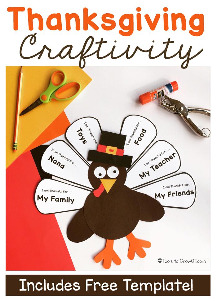 Thanksgiving Handwriting Craft - Free Printable Template!