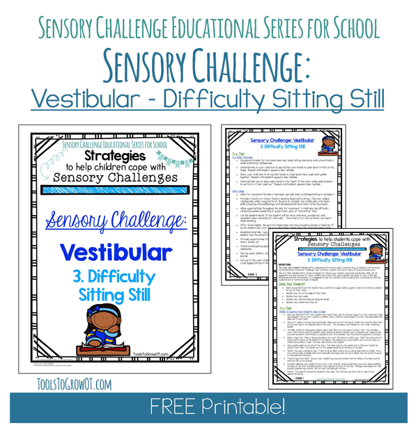 Sensory Educational Series - Difficulty Sitting Still by Tools to Grow