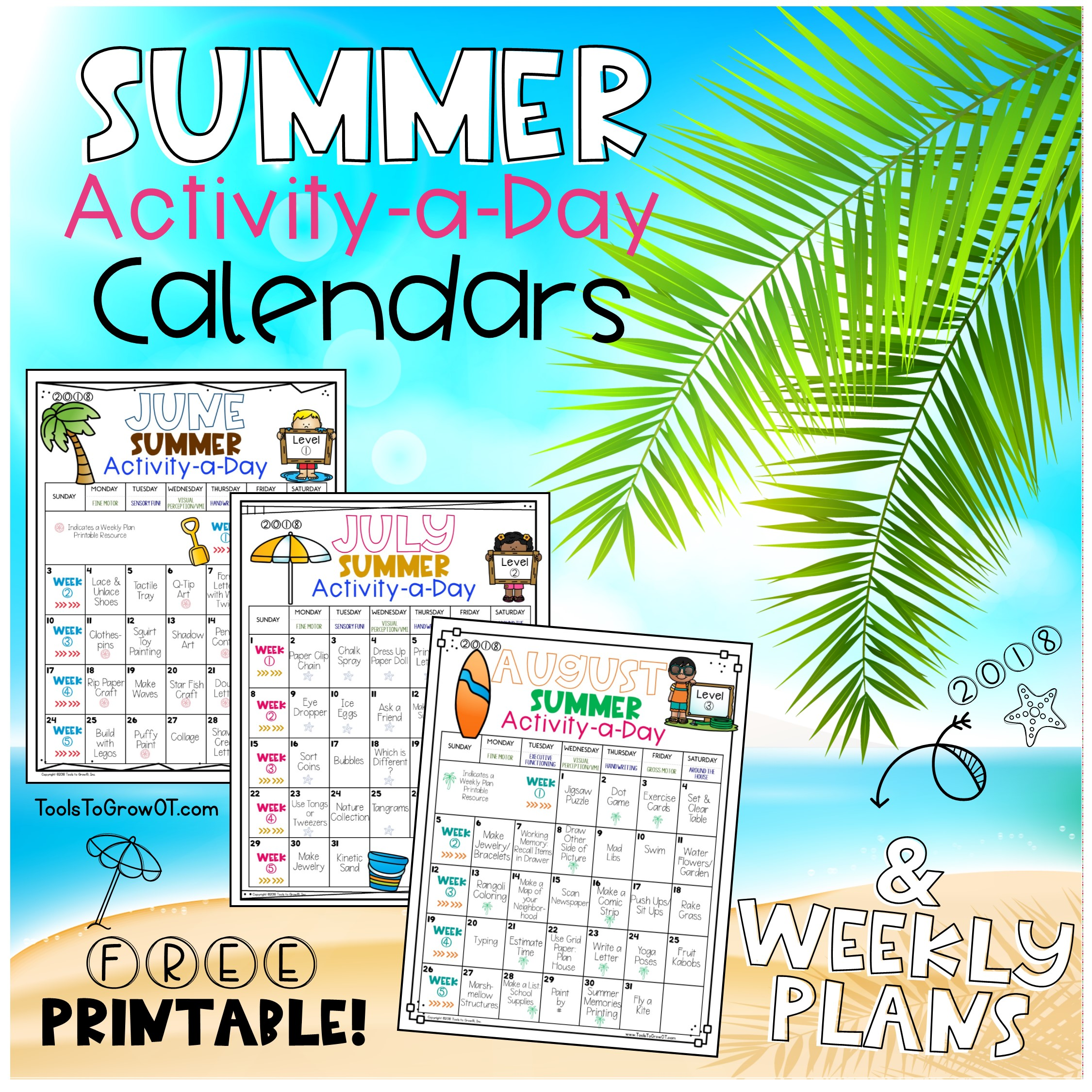 Activity-a-Day Calendars & Weekly Plans 2018 | Blog | Tools To Grow ...