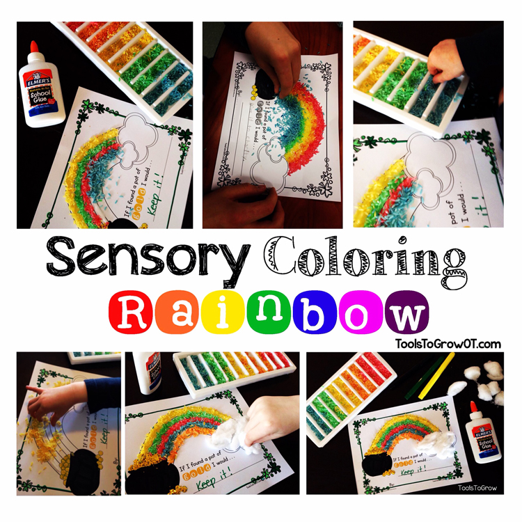 Sensory Coloring-Rainbow Fine Motor Activity by Tools to Grow