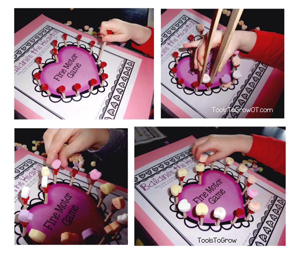 Fine Motor Valentines Game - Balance the Hearts! Tools to Grow