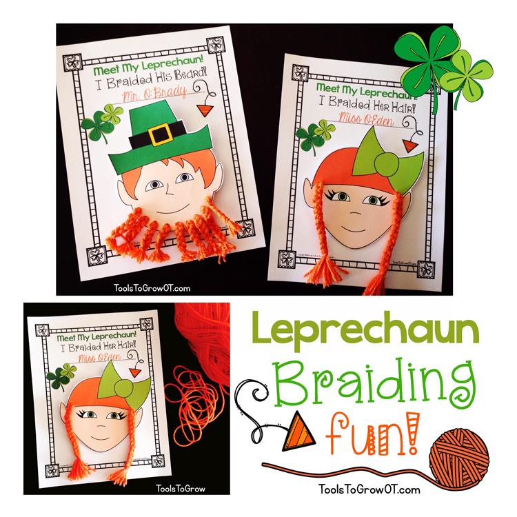 Tools to Grow Leprechaun Braiding -St. Patrick's Day Fine Motor Activity Braid a Beard & Braid Pony Tails!