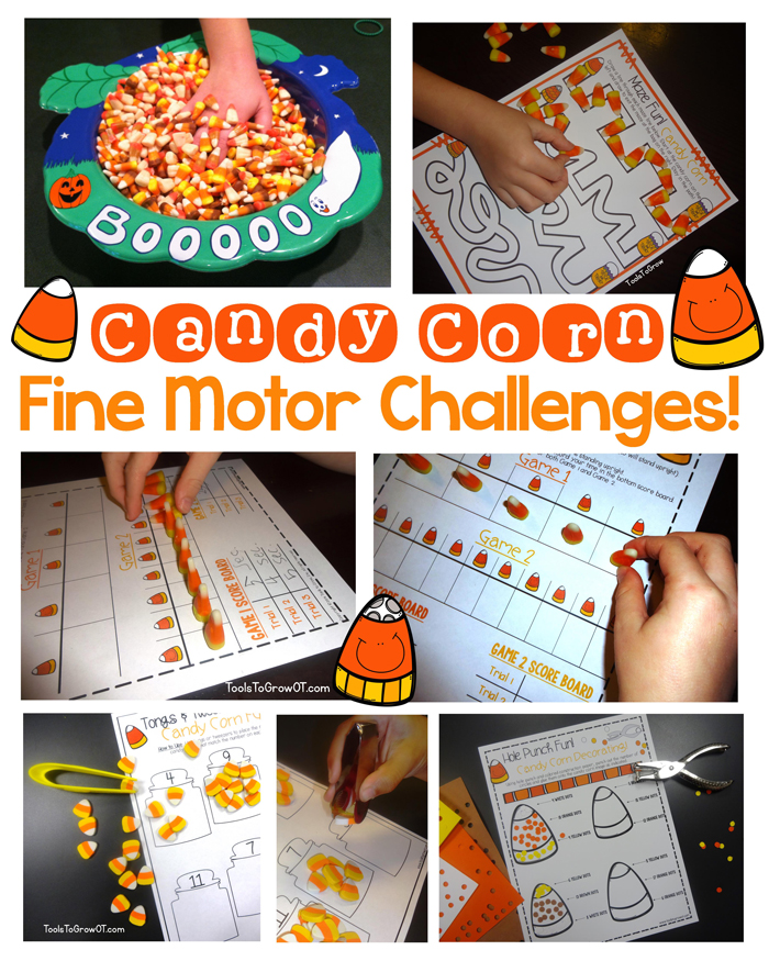 Candy Corn Fine Motor Challenges & Activities for Halloween Fun!