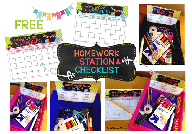 Homework Planner/Checklist and Homework Station FREE - Tools to Grow