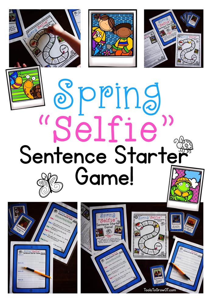 Spring Selfie Sentence Starter Handwriting Game