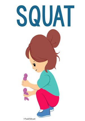 Squat/Crouch Intervention Position - Copyright ToolsToGrowOT.com