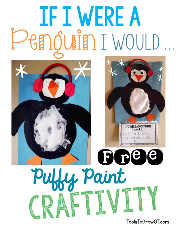 Penguin Winter craft and handwriting activity - Tools to Grow