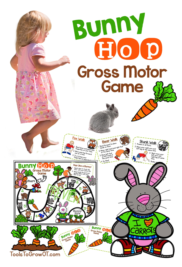 Bunny Hop Gross Motor Game by Tools to Grow