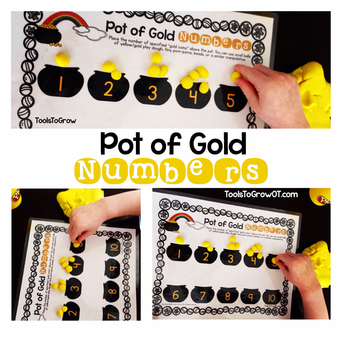 Pot of Gold - Dough/Fine Motor Mat and Number Activity by Tools to Grow