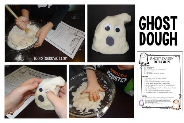Free Ghost Halloween tactile sensory recipe - Tools to Grow