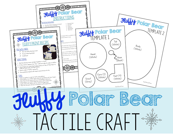 Fluffy Polar Bear - Tactile children's craft activity Printable resource
