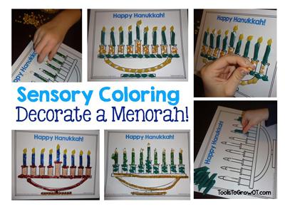 Hanukkah Activity Sensory Coloring a Menorah by Tools to Grow