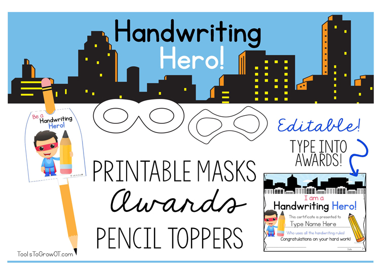 Handwriting Heroes - Awards, Pencil Toppers and Mask for kids!