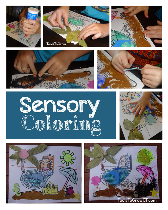 Sensory Tactile Coloring Craft Activity for Kids by Tools to Grow