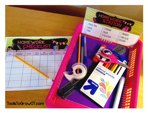 Homework Station, Checklist & Routine by Tools to Grow