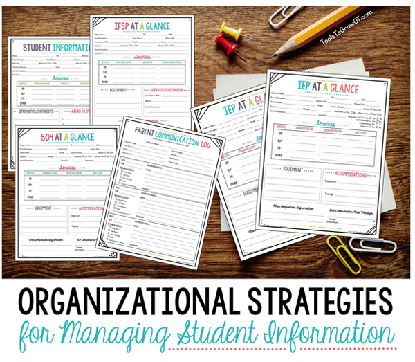 Organizational Strategies for Managing Student/Child Information