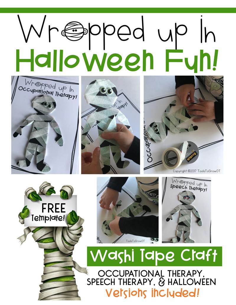 Mummy Washi Tape Halloween Craft - FREE Printable