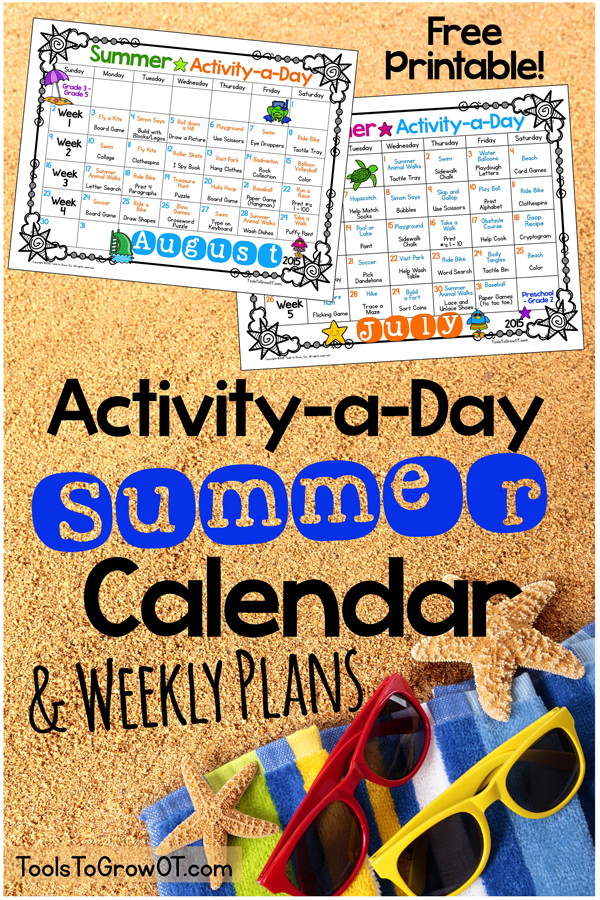 Three Year Calendar Planner : Activity a day summer calendar weekly plans