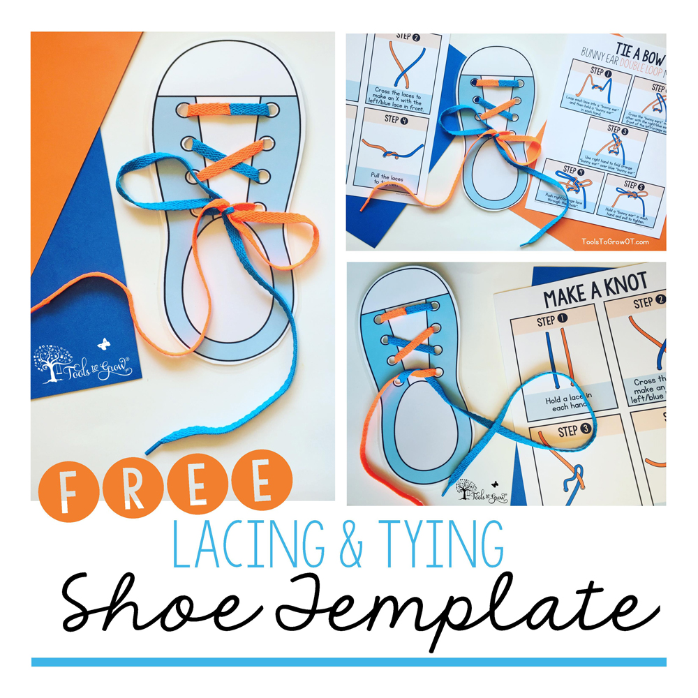 Shoe Tying Tips, Tools, and Resources to help children FREE Shoe Template!