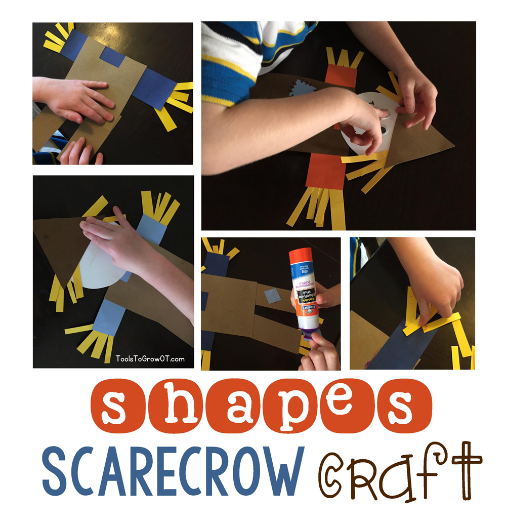 Scarecrow Shapes Craft - a fun fall themed activity! Includes Free printable template pattern