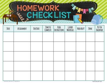 executive functioning skills checklist