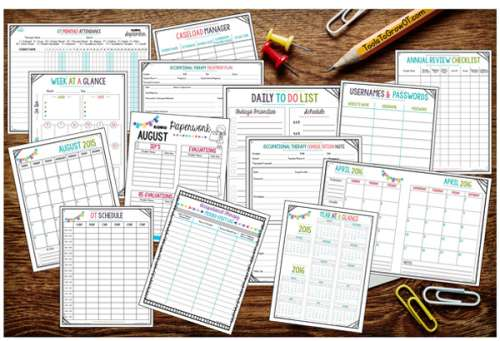 Occupational therapy time and task management resources. Occupational Therapy calendar and agenda, to-do lists, and week at a glance planning.