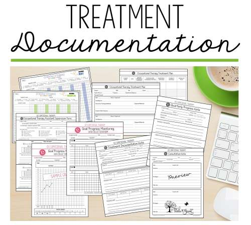 Occupational Therapy treatment documentation log notes, resources, checklists, attendance, and consultation forms.